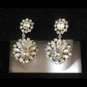 Vintage Trifari Crystal Pinwheel Dangle Earrings